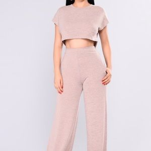 Fashion Nova Cropped Sweater Pant Set